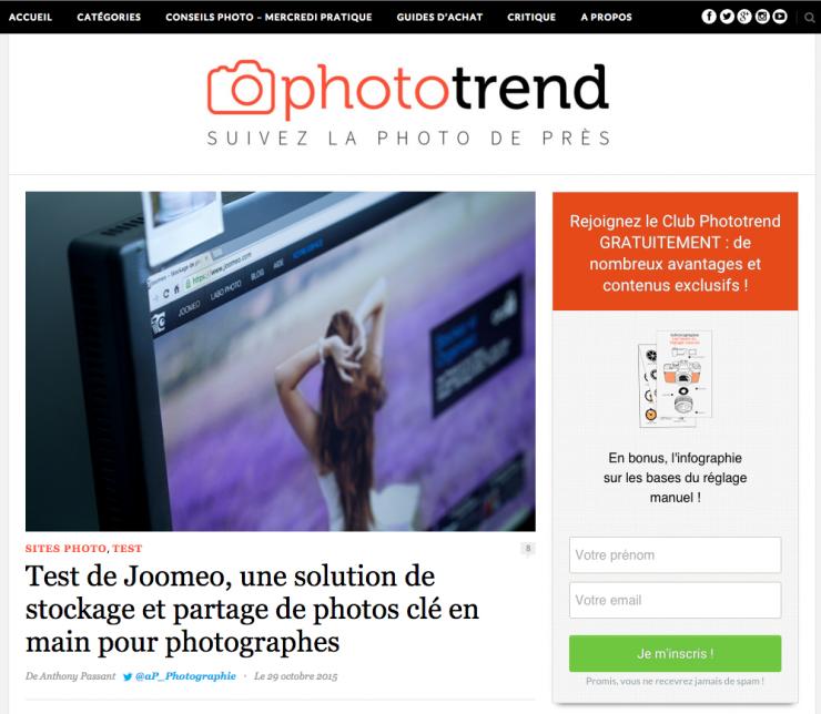 Joomeo plébiscité par Phototrend