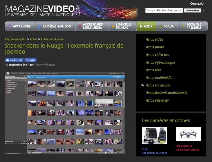 Article Joomeo sur Magazinevideo.com