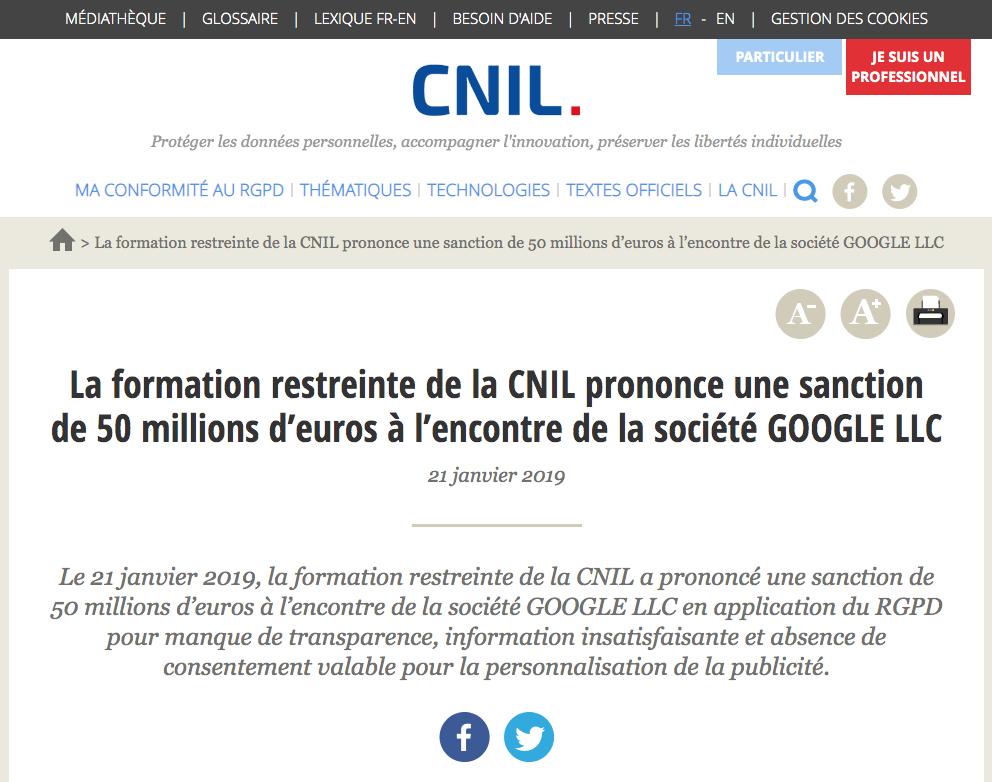 Internet : La CNIL prononce une sanction de 50 millions d'euros à l'encontre de la société GOOGLE