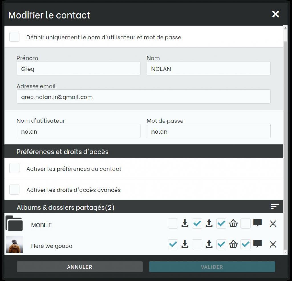 Fenêtre de gestion du partage de dossier au niveau d'un contact